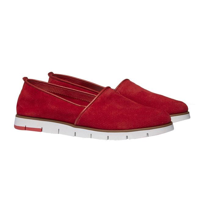 Slip-Ons aus Leder mit Perforation flexible, Rot, 513-5200 - 26