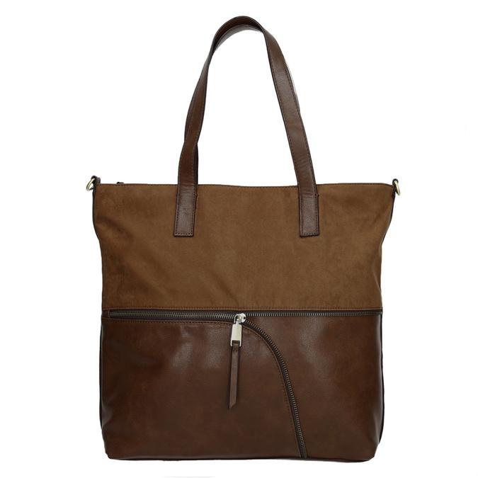 Damenhandtasche mit asymmetrischem Reissverschluss, Braun, 961-3847 - 26