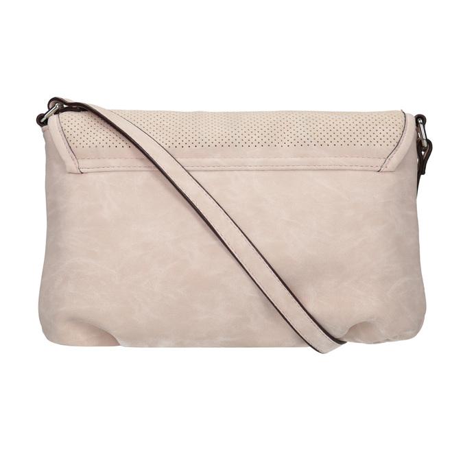 Rosa Crossbody-Handtasche mit perforierter Klappe bata, Rosa, 961-5709 - 19
