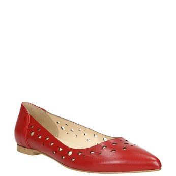 Rote Ballerinas aus Leder bata, Rot, 524-5604 - 13