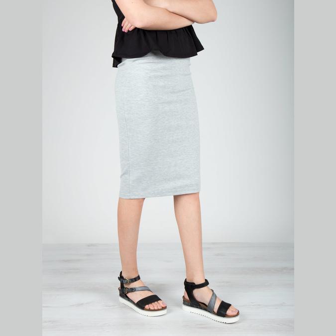 Damensandalen aus Leder mit Flatform bata, Schwarz, 666-6604 - 18