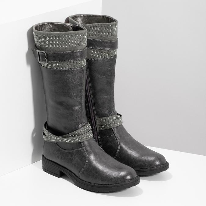 Mädchen-Stiefel mit Steinchen mini-b, Grau, 391-2655 - 26