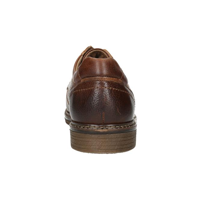 Braune Lederhalbschuhe mit Steppung bata, Braun, 826-4915 - 17