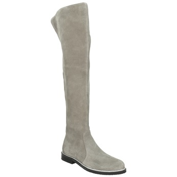 Graue Overknee-Stiefel aus Leder bata, Grau, 593-2605 - 13