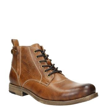 Braune Stiefeletten aus Leder bata, Braun, 896-3684 - 13