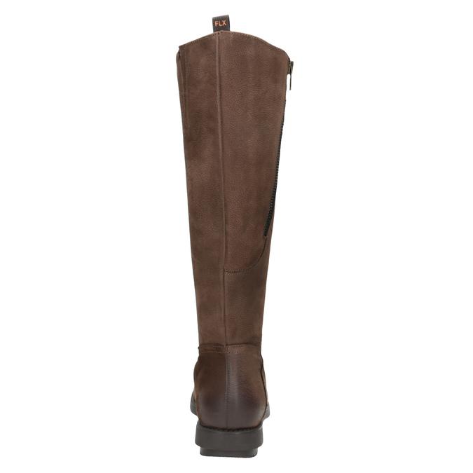 Braune Damenstiefel aus Leder mit Reißverschluss flexible, Braun, 594-4651 - 15