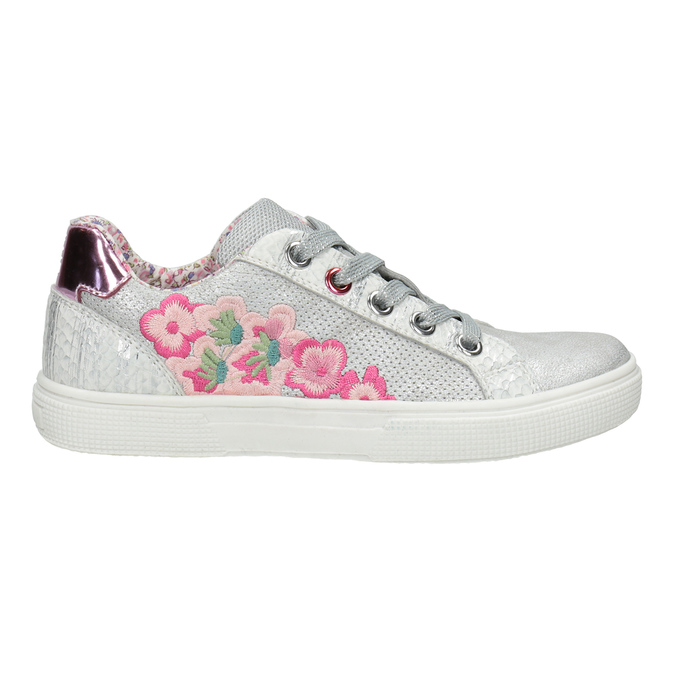 Mädchen-Sneakers mit Stickmotiv mini-b, Silber , 321-1381 - 26