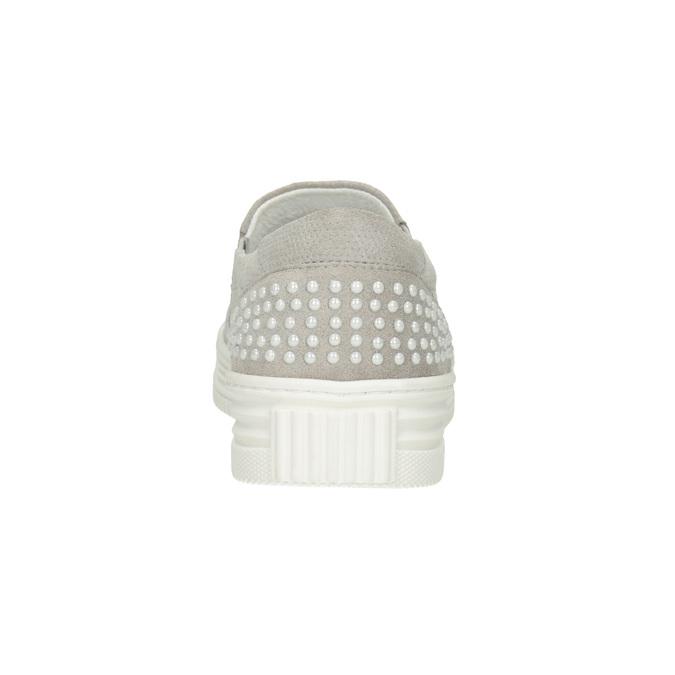 Leder-Slip-Ons mit Perforation bata, Grau, 533-2600 - 16