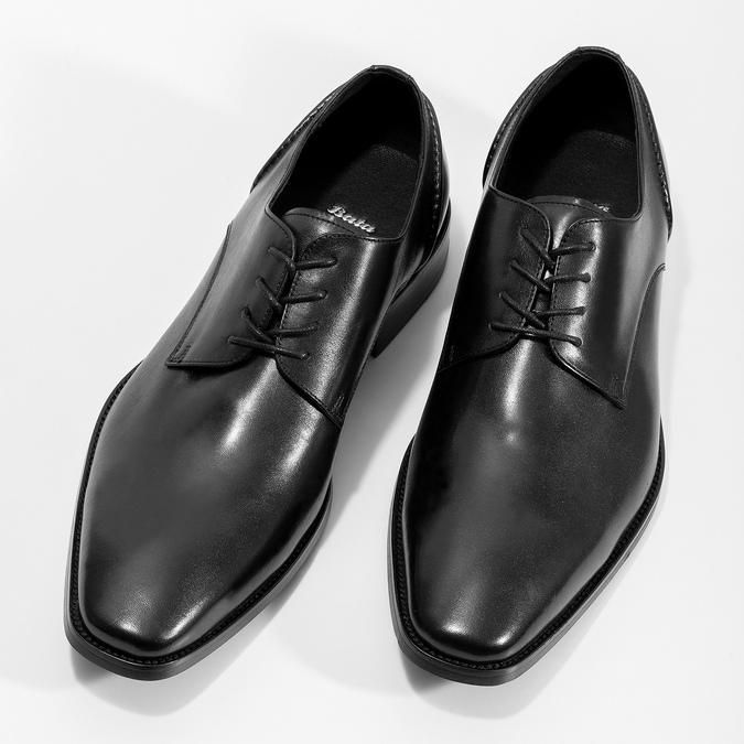 Schwarze Lederhalbschuhe im Derby-Look bata, Schwarz, 824-6405 - 16