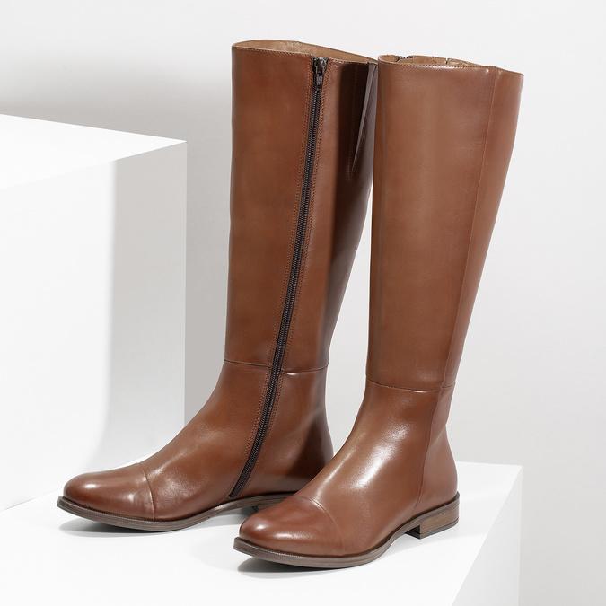 Braune Lederstiefel bata, Braun, 594-4637 - 16